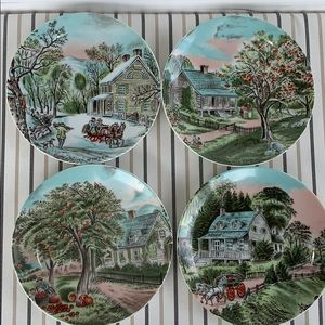 CURRIER AND IVES  Set of 4 Four Seasons
